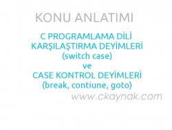 C Programlama Dili Karşılaştırma Deyimleri 2 (switch, break, contiune, goto)