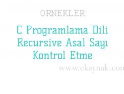 C Programlama Dili Recursive Asal Sayı Kontrol Etme Örneği