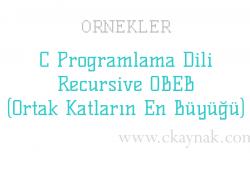 C Programlama Dili Recursive OBEB (Ortak Katların En Büyüğü) Örneği
