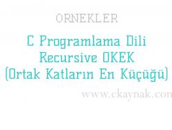 C Programlama Dili Recursive OKEK (Ortak Katların En Küçüğü) Örneği