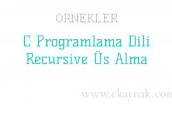 C Programlama Dili Recursive Üs Alma İşlemi Örneği
